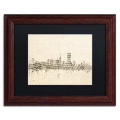 Trademark Fine Art San Francisco Sheet Music II Canvas Art by Michael Tompsett Black Matte, Wood Frame, Size: 16 x 20