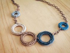 Crochet Necklace in Blue and Tan