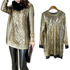 Round Neck Gilding Knit Pullover Sweater