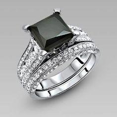 Black Princess Cut Cubic Zirconia Women's Engagement Ring/Wedding Ring Set $229.00 by Vancaro