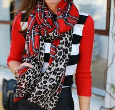 Express | Leopard + Plaid Scarf.  Just got mine in the mail