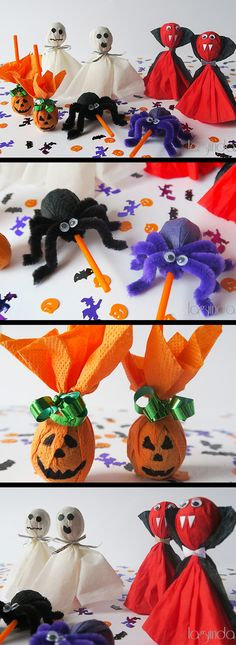 Very funny way to make Halloween lollipops. Idea divertidísima para decorar chupa-chups and H Dulceros Halloween, Moldes Halloween, Adornos Halloween, Halloween Goodies, Halloween Crafts For Kids, Halloween Birthday, Halloween Activities, Couple Halloween, Halloween Projects