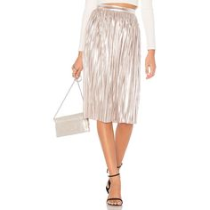 devlin Morgan Skirt ($120) ❤ liked on Polyvore featuring skirts, pleated skirt, white pleated skirt, metallic skirt, white knee length skirt and metallic pleated skirt