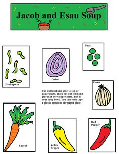 Jacob and Esau Soup Activity page.jpg (1019×1319) *Also need paper plate, plastic spoon, tape and glue sticks.