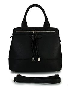 Rimen & Co. Front Double Zippers Divided Compartments Causal Tote Handbag (Black New)