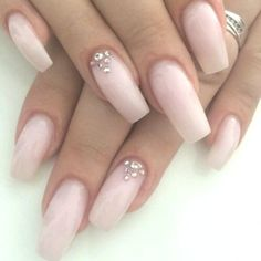 Blush pink coffin nails with rhinestone accents. long nails are elegant. Prom Nails, Wedding Nails, Long Nails, Short Nails, Matte Nails, Blue Nails, Gel Nails, Acrylic Nails, Glitter Nails