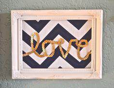 Glitter & Glue // DIY ~ wall art. Grab an old frame, fabric, sequin ribbon and a hot glue gun and you can make this sweet little piece of wall art. www.letsglitterandglue.com. #wallart #sequin #love #chevron