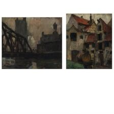 Ejnar Hansen: Townscapes. Signed EH, one dated 14. Oil on canvas. 45 x 52.5 and 58 x 49.5 cm. (2)