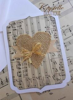 Crystelle Boutique - Simple card with burlap heart