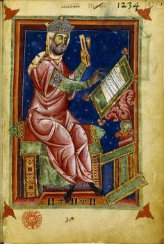 "L'astrologo Georgius Zothorus Zaparus Fendulus, in una miniatura del suo ""Liber Astrologiae"" - XIII secolo."