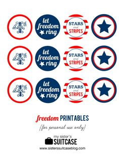 4th of July printable tags by {My Sister's Suitcase}