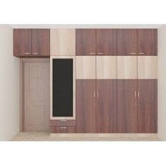 Dual color wardrobe with plywood material and laminate finish. This unit comes along with a dresser, attached loft, drawers. These units save space and lets you utilize the bedroom space in a effective way.