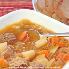 Sauerkraut Soup! What can be more German than that? http://www.quick-german-recipes.com/sauerkraut-soup-recipe.html