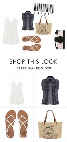 """""""It's Friday!"""" by rileypult on Polyvore featuring MANGO, maurices, Billabong, Straw Studios and Kate Spade"""