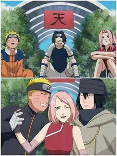 Before and After Team 7 Naruto And Sasuke, Anime Naruto, Naruto Team 7, Naruto Cute, Naruto Shippuden Sasuke, Sakura And Sasuke, Otaku Anime, Boruto, Manga Anime