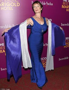 Turning heads: Celia Imrie wore a long blue bandage dress and colourful, shimmering shawls Celia Imrie, British Tv Comedies, Blue Bandage Dress, Nyc Hotels, Maggie Smith, Beautiful Women Over 40, Judi Dench, Tilda Swinton, Comedy Tv