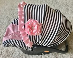 Pink and Stripe Knit Infant Car Seat Cover