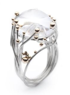 "Ring | Annegret Morf, of Serafino Joailliers Contemporaine. ""14 Paths Crossing"". Sterling silver, 14k gold, quartz cabochon."