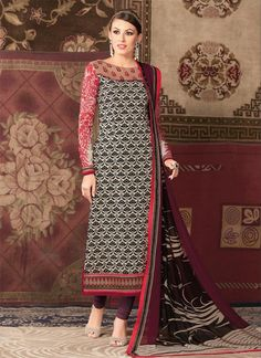 Whimsical Faux Crepe Churidar Designer Suit