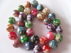 Resin and Mother of Pearl Shell Multicolored 12mm Beads $5