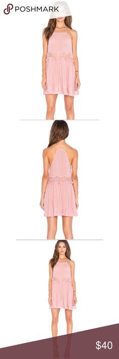 Free People Blush Flirty Slip Dress NWT - rayon - flirty - lace insert - tassel drawstring - blush pink Free People Dresses