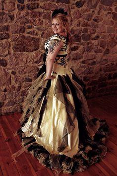 Yellow and Black Wedding Dress, Yellow Wedding Dress, Gothic Wedding Dress, Victorian Wedding Dress, Pale Yellow Weddings, Yellow Wedding Dress, Custom Wedding Dress, Modest Wedding Dresses, Colored Wedding Dresses, Nice Dresses, Amazing Dresses, Steampunk Wedding, Gothic Wedding