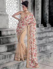 Golden & Pink Color Half Net & Half Bhagalapuri Party Wear Sarees : Athiya Collection YF-29537