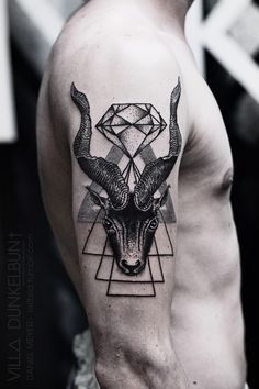 triangle goat head by daniel meyer @ VILL∆ DUNKELBUN† #arm #tattoos