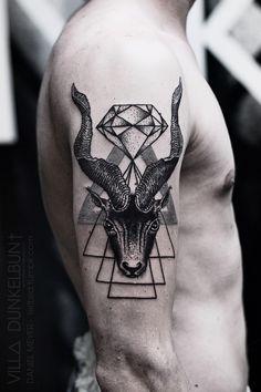 Triangle Goat-Head Tattoo byDaniel Meyer@VILL∆ DUNKELBUN†