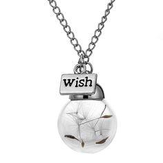 Necklace - Make A Wish Dandelion Glass Pendant Necklace