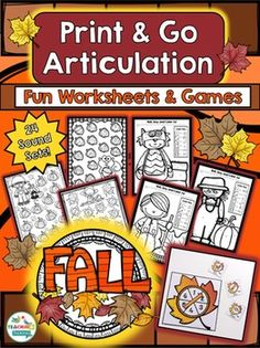Fall Theme Articulation Print & Go - Quick & Easy Therapy Materials for Mixed Articulation Groups. This packet contains cards and worksheets to cover all the 24 sounds your students need. ---------------------------------------------------------------------------------------- For