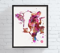 Cow Art Print Watercolor Cow Cow Portrait Cow by MiaoMiaoDesign