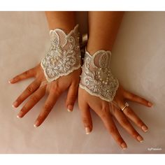 Wedding Gloves,Bridal Lace Gloves,Mittens,Fingerless,Wedding... ($20) via Polyvore featuring accessories ve gloves