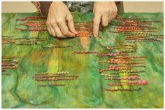 Перед началом новой работы я покрасила шёлк, шерсть, шёлковые платочки; но не хватало последнего акцента. И вот на октябрьских посиделках в Шкатулочке, мне посчастливилось познакомиться с замечательным мастером Женей Бобровой. Её моточек шерсти ручной работы сотворил чудо - когда я положила его к подготовленным материалам, вдруг случилось то волшебное настроение, которое зовется вдохновением;…