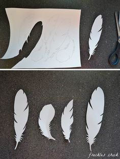 freckles chick: Holiday gift wrapping: festive & feathery - Party Dresses and Party Outfits Feather Garland, Feather Crafts, Feather Art, Diy Angel Wings, Diy Wings, Diy Paper, Paper Art, Paper Crafts, Diy Angels