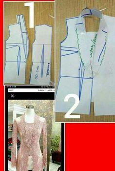 27 likes 1 comments Kebaya Peplum, Kebaya Lace, Batik Kebaya, Pola Kebaya Kutubaru, Kebaya Brokat, Dress Sewing Patterns, Blouse Patterns, Clothing Patterns, Model Kebaya