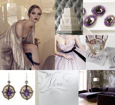 Mood: glittering Art Deco Palette: silver, gold, purple