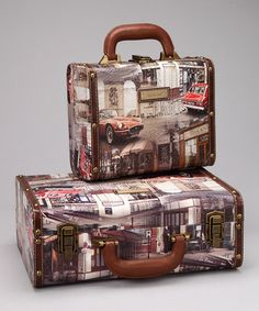 Take a look at this Brown & Gray Auto 'Paris' Box Suitcase Set by Nicole Lee Handbags on #zulily today!