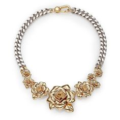Marc by Marc Jacobs Jerrie Rose Statement Necklace ($240) ❤ liked on Polyvore featuring jewelry, necklaces, apparel & accessories, rose gold jewelry, flower jewelry, flower necklace, chain necklace and flower girl jewelry