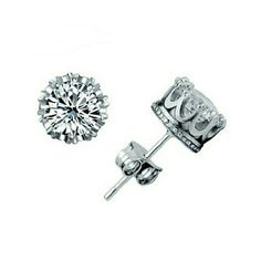 Silver stud Earrings 925 silver Earrings Zirconia Crown Setting Jewelry Earrings