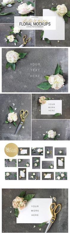 White & gray floral mockup stock by Skyla Design on @creativemarket
