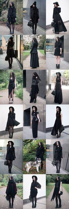 Dark fashion & all black everything street style outfits. Fashion Mode, Dark Fashion, Gothic Fashion, Womens Fashion, Fashion Clothes, Style Clothes, Fashion Outfits, Fashion Ideas, Woman Outfits