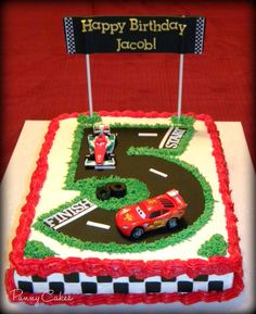 cars birthday cake Here she is. Cake is Vanilla, half filled with Strawberry fruit filling, iced with Vanilla buttercream. The birthday boys mom told m. Blaze Birthday Cake, Birthday Sheet Cakes, Race Car Birthday, Cars Birthday Parties, Cool Birthday Cakes, 3rd Birthday, Cars Cake Design, Car Cakes For Boys, Cake Designs For Kids