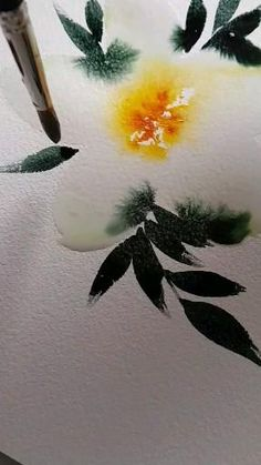 Watercolor Flowers Tutorial, Watercolor Sunflower, Watercolor Leaves, Watercolour Tutorials, Watercolor Print, Watercolor Illustration, Watercolour Painting, Watercolours, Watercolor Beginner