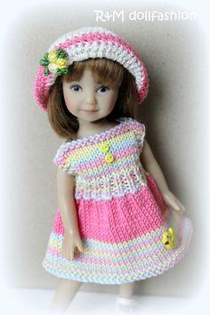 "R&MDOLLFASHION OOAK handknit set for Effner Heartstring Kish Riley 7.5-8"" doll"