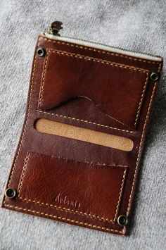 Hand Stitched Brown Leather Slim Wallet MXS  $65.07