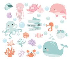 Sea animal clipart,ocean clipart, under sea clipart Instant Download PNG file - 300 dpi