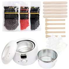 Wax Heater Set Wax Beans No Paper Needed Waxing Hair Removal Machine For Depilation With 3 Bag 100g Hot Hard Beans