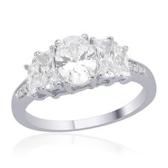 Liquidation Channel | Swarovski Zirconia Ring in Platinum Overlay Sterling Silver (Nickel Free)