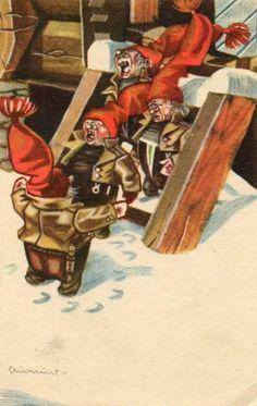 Norwegian Christmas, Scandinavian Christmas, Gnomes, Christmas Cards, Christmas Postcards, Norway, Auction, Traditional, Illustration